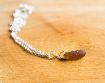 Brown seaglass pendant