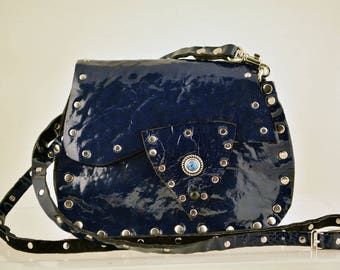 Blue Patent Leather Cross Body Pouch
