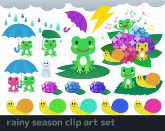 rainy season clip art / frog & snails clip art /  hydrangea clip art