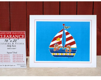 Art Print By Shelly Rasche BEARS In BOAT - SQUARE Deal - Buy 2 Get 2 Free - Buy 4 Get 12 Free - Buy 7 Get 42 Free - Buy 10 Get 90 Free