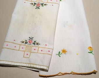 Two Vintage Embroidered Tray Cloths