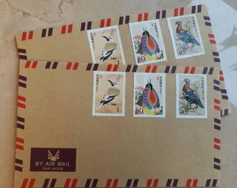 Chinese Bird Stamps Set with Vintage Airmail Envelope