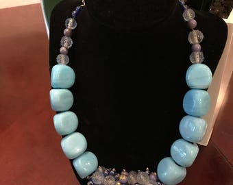Glass beads and coral stones necklace