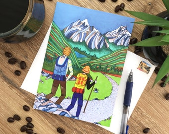 Rocky Mountains - Hiking - Blank Card - Envelope Included - Recycled Paper