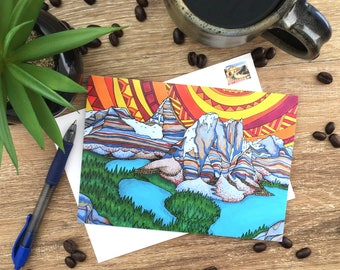 Rocky Mountains - Assiniboine  - Blank Card - Envelope Included - Recycled Paper
