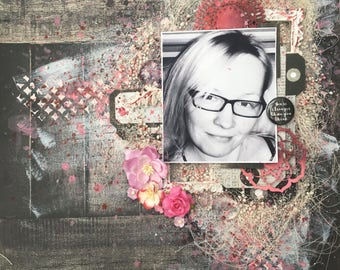 grey and pink - 12x12 scrapbook page