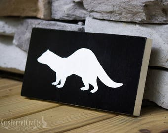 Ferret Silhouette Wood Sign Art Plaque - Black
