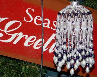 Purple/White Beaded Ornament Cover
