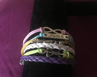 Infinity love faith anchor multi tier adjustable bracelet