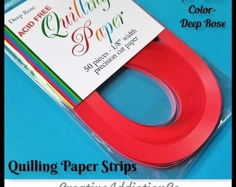 50 Strips, Quilling, Paper Strips, Deep Rose, 3mm, Precision Cut Paper, 24 inch long, Quilling Art, Crafts, Paper, Design, Rolling, #325