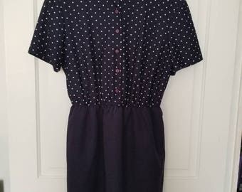 Navy Polka Dot Dress Size Large