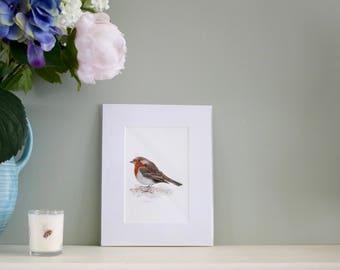 Robin watercolour print