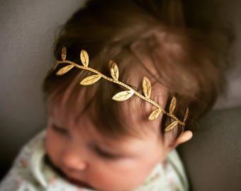 Newborn Handmade Gold Leaf Headband
