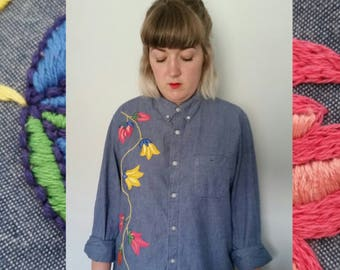 Hand Embroidered Upcycled Thrift Store Boyfriend Shirt