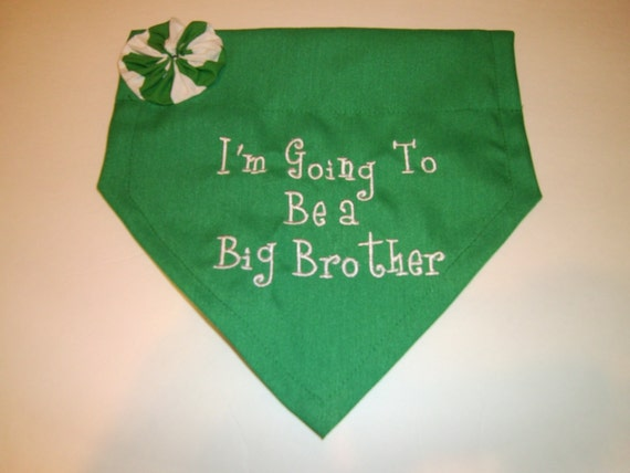 Dog Bandana, Big Brother, Christmas, Red, Green   I'm Going to be a Big Brother,  Flower, Collar, Scarf,  Baby Announcement