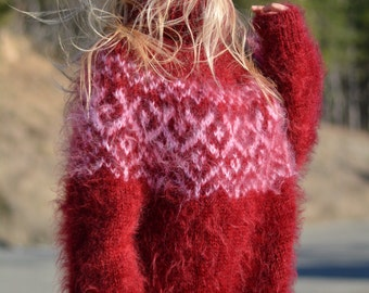ORDER handmade Icelandic sweater hand knitted mohair sweater fuzzy Tneck soft jumper warm pullover unisex mohair T-neck RED unisex Dukyana