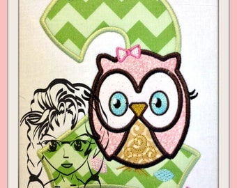 NUMBER Set 0-9 GiRL OwL - Who's Birthday Applique 5x7 hoop - INSTANT Download Machine Embroidery Design by Carrie