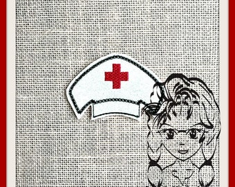 NuRSE CaP HaT Center (Add On ~ 1 Pc) Mr Miss Mouse Ears Headband ~ In the Hoop ~ Downloadable DiGiTaL Machine Embroidery Design by Carrie