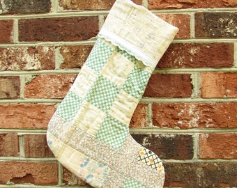 Upcycled Christmas Stocking - Vintage Quilt - Pastels - Patchwork Quilt - Cotton Feedsack