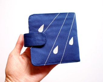 Bifold Billfold Fabric Wallet - Raindrops Wallet - ROYAL BLUE Fabric Wallet With Magnetic Button - Minimalist Wallet - Rain Clouds Design