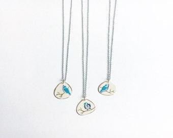 Blue SongBird on Branch//Brass// silver bird necklace