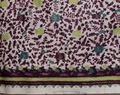 Tropical Asia hand dyed batik Purple and Green Cotton fabric / curtain / tapestry