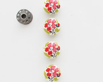 Floral Fabric Covered Half Round Buttons 7/8 Inch | Four pink and green flower buttons with a self shank back.