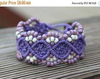 CYBER SALE REDUCED Micro-Macrame Beaded Hemp Cuff Bracelet - Purple