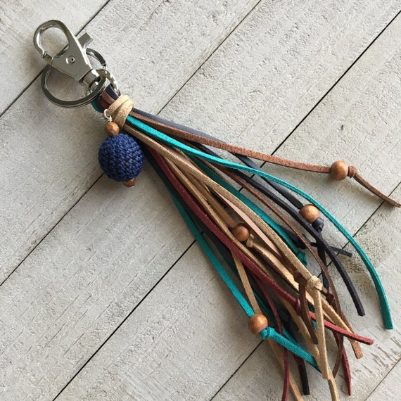 Long Fringe Tassel Keychain with Wooden Beads and Crocheted Bead - Unique Purse Charm, Hippie Keychain, Gift for Her (OOAK2)