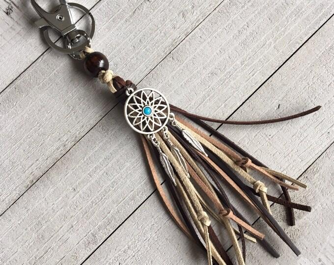 Featured listing image: Tassel Purse Charm, Tassel Keychain, Boho Keychain, Western Cowgirl, Handbag Charm, Zipper Pull + Dreamcatcher Charm Southwest Feather