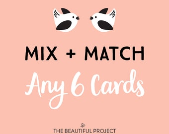 Mix and Match Any 6 Greeting Cards - Mix and Match Sale, Card Sale, Any Occasion Cards, Birthday Card, Holiday Card Sale, Thanks, Card Set