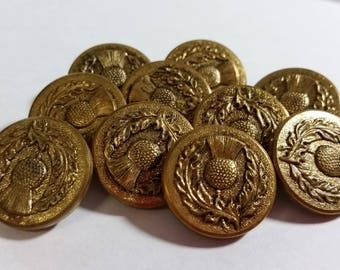 10 Vintage Gold-tone Buttons From Ireland Sew-On Loops 025