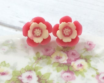 Dark Salmon Resin Daisy Flower Stud Earring with Off White Center and Surgical Steel Posts, Made to Order (SE10)