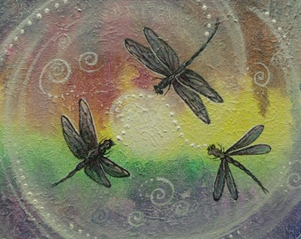 Rainbow song, dragonfly totem, Dragonflies moon dance, Original painting by Griselda Tello