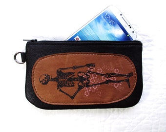 Skeleton Phone pouch Pencil Case Recycled Leather Spring Edition with Cherry Blossoms