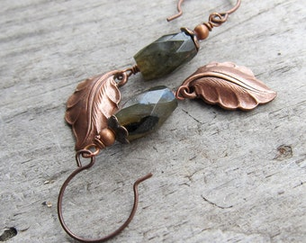Autumn Breeze    Zen   Earthy   Organic   Copper Leaf and Labradorite Stone Earrings   Boho   Hippie   Limited Edition   Earrings Under 20