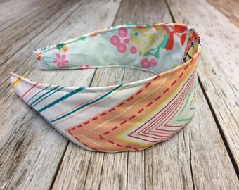 Reversible Fabric Covered Headband - Multi-Colored Zig Zag - Floral Fabric