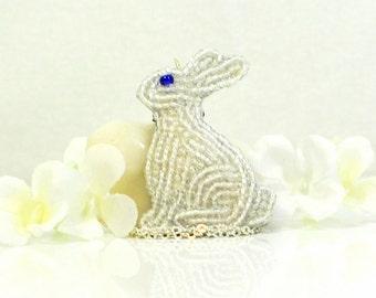 White Bunny Rabbit Necklace Blue Eyes - Pet Bunny - Bunny Rabbit Pendant - Bunny Jewelry - Bunny Necklace - Rabbit Jewelry - Bunny Pendant