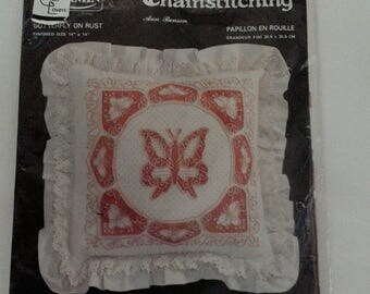 Charmin Chainstitching Kit Butterfly On Rust by Ann Benson Vintage New in Package Pillow Decor Needlework Ruffle