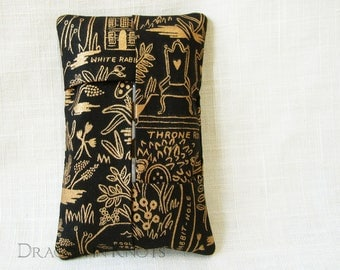 Wonderland Pocket Tissue Holder - black and gold small travel facial tissue cover, booklover literary gift, Alice's Adventures in Wonderland