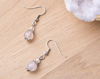 Rose Quartz earrings | Pink gemstone leaf cap earrings | Crystal jewellery | Small dangle earrings | Gemstone jewelry | Pink gem earrings