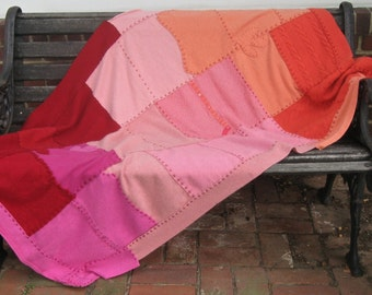 Cashmere Blanket . cashmere quilt . repurposed cashmere sweaters . HUES OF LOVE . healing blanket . cancer patient blanket