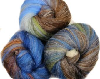 Song bird - classic batts -- (4 oz.) hand-dyed merino wool, yak, silk, bamboo 01