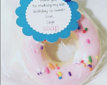 Donut Soap - handmade glycerin soap. Gift for her. Gift for friend. bath time fun. Gift for mom. Birthday. Women. kids. Teens. party favor.