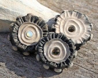 Handmade RAKU  Buttons Set of 3