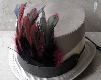Magenta and Black Feather and Black Leather Fire Bird Hat Band