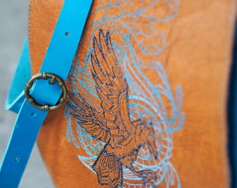 Embroidered Raven Leather Satchel
