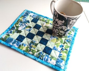 Blue and Green Quilted Mug Rug, Snack mat, large coaster,  Scrappy Patchwork, Candle Mat, snack mat, Mini Quilt, Irish Chain, Floral Fabric