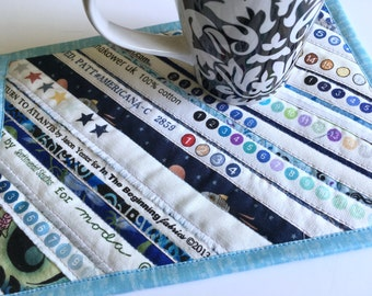Quilted Mug Rug, Snack mat, Strip Pieced, large coaster, Selvage strips, Scrappy Patchwork, Candle Mat, Mouse Pad, Mini Quilt, Sky Blue