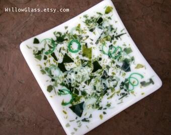 Fused Glass Dish in Green Confetti over White, Glass Tray OOAK, Glass Dish, Glass Tray, Home Decor, Glassware, Willow Glass